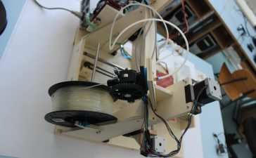 Liz Havlin produces filament from plastic for 3D printer