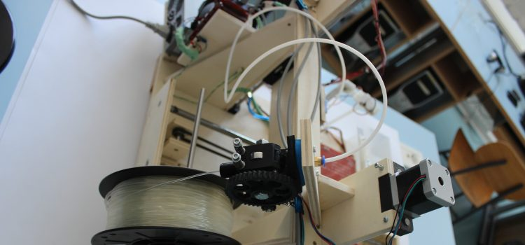 Liz Havlin produces filament from plastic for 3D printer